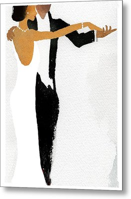 Couple Dressed Up And Slow Dancing Metal Print by Gillham Studios