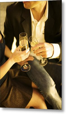 Couple Sitting, Clinking Champagne Metal Print by Gillham Studios