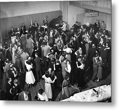 Couples Dancing To Big Band Metal Print by Underwood Archives