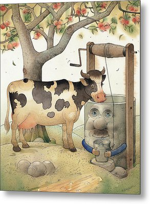 Cow And Well Metal Print by Kestutis Kasparavicius