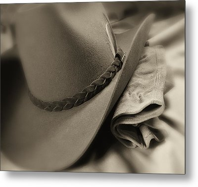 Cowboy Hat And Gloves Metal Print by Tom Mc Nemar
