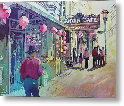 Cowboy In Chinatown Metal Print by Jenny Armitage