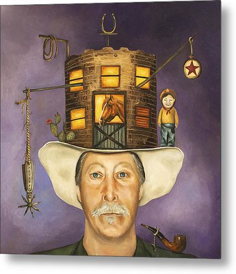 Cowboy Karl Metal Print by Leah Saulnier The Painting Maniac
