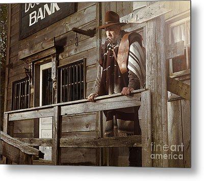 Cowboy Waiting Outside Of A Bank Building Metal Print by Oleksiy Maksymenko