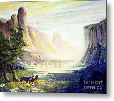 Cows In The Mountain Metal Print by Wingsdomain Art and Photography