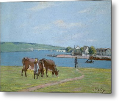 Cows On The Banks Of The Seine At Saint Mammes Metal Print by Alfred Sisley