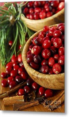 Cranberries In Bowls Metal Print by Elena Elisseeva