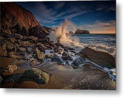 Crashing Waves On Rodeo Beach Metal Print by Rick Berk