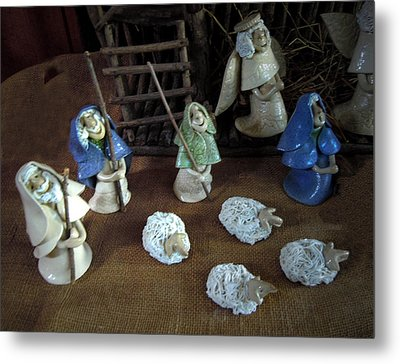 Creche Shepards And Sheep Metal Print by Nancy Griswold