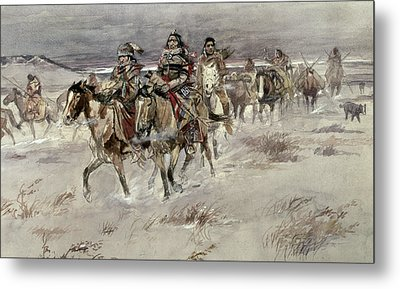 Crees Coming In To Trade Metal Print by Charles Marion Russell