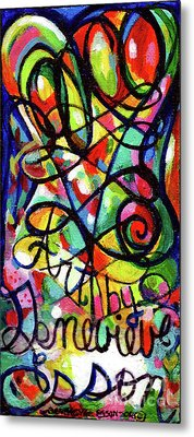 Creve Coeur Streetlight Banners Whimsical Motion 11 Metal Print by Genevieve Esson