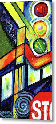 Creve Coeur Streetlight Banners Whimsical Motion 17 Metal Print by Genevieve Esson