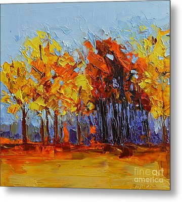 Crispy Autumn Day Landscape Forest Trees - Modern Impressionist Knife Palette Oil Painting Metal Print by Patricia Awapara
