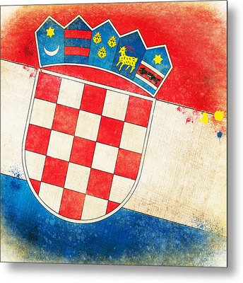 Croatia Flag Metal Print by Setsiri Silapasuwanchai