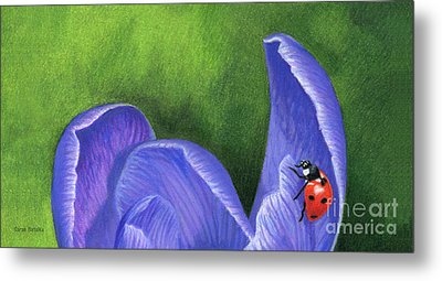 Crocus And Ladybug Detail Metal Print by Sarah Batalka