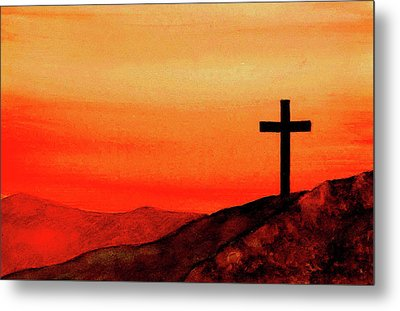 Cross At Sunset Metal Print by Michael Vigliotti