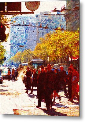 Crossing Market Street 2 . Photo Artwork Metal Print by Wingsdomain Art and Photography