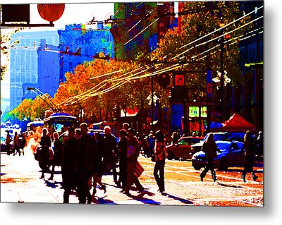 Crossing Market Street . Photo Artwork Metal Print by Wingsdomain Art and Photography