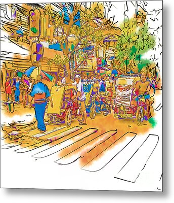 Crosswalk In The Philippines Metal Print by Rolf Bertram