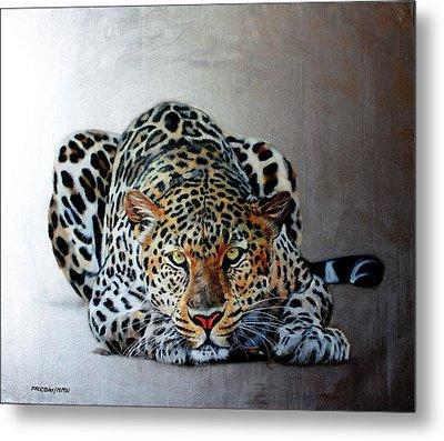 Crouching Leopard Metal Print by Susana Falconi