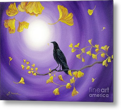 Crow In Ginkgo Leaves Metal Print by Laura Iverson