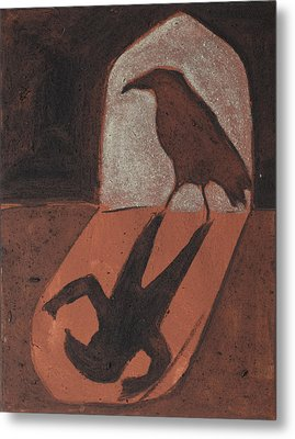 Crow In The Doorway Of Life With Woad Metal Print by Sophy White