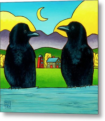 Crow Tales Metal Print by Stacey Neumiller