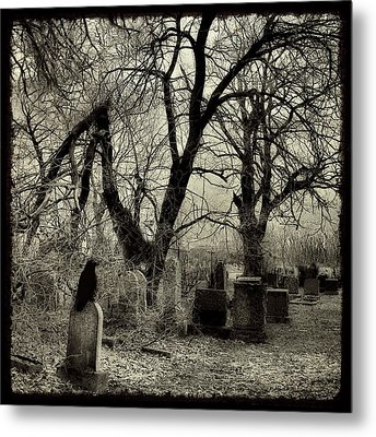 Crow Waits On Tombstone Metal Print by Gothicolors Donna Snyder
