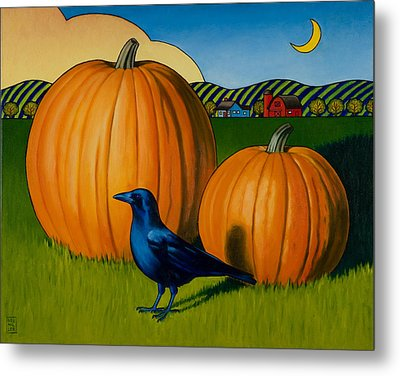 Crows Harvest Metal Print by Stacey Neumiller