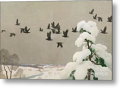 Crows In Winter Metal Print by Newell Convers Wyeth