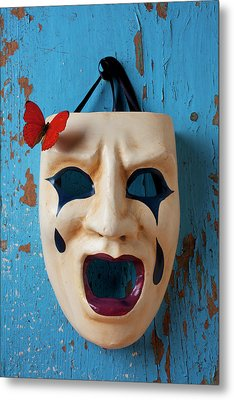 Crying Mask And Red Butterfly Metal Print by Garry Gay