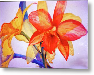 Crystal Orchids Metal Print by Estela Robles