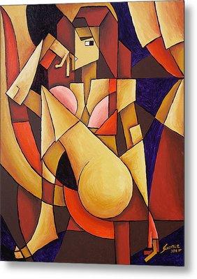 Cube Woman Metal Print by Sotuland Art