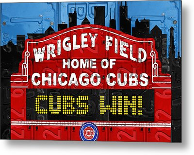 Cubs Win Wrigley Field Chicago Illinois Recycled Vintage License Plate Baseball Team Art Metal Print by Design Turnpike