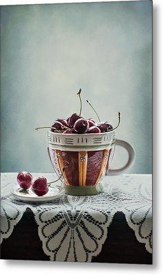 Cup Of Cherries Metal Print by Maggie Terlecki