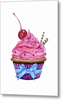 Cupcake Watercolor Metal Print by Taylan Soyturk