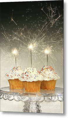 Cupcakes With Sparklers Metal Print by Sandra Cunningham