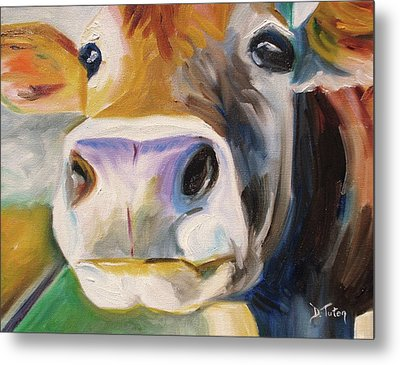 Curious Cow Metal Print by Donna Tuten
