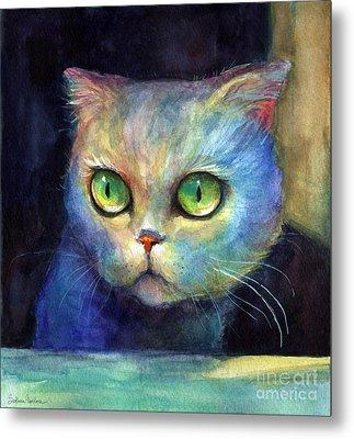 Curious Kitten Watercolor Painting  Metal Print by Svetlana Novikova
