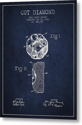 Cut Diamond Patent From 1910 - Navy Blue Metal Print by Aged Pixel