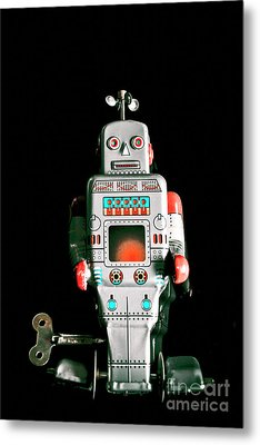 Cute 1970s Robot On Black Background Metal Print by Jorgo Photography - Wall Art Gallery