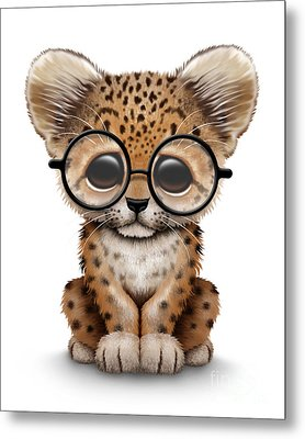Cute Baby Leopard Cub Wearing Glasses Metal Print by Jeff Bartels