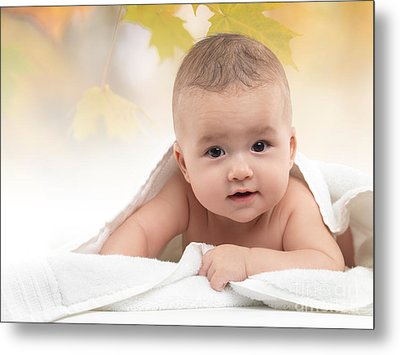 Cute Four Month Old Baby Boy Metal Print by Oleksiy Maksymenko