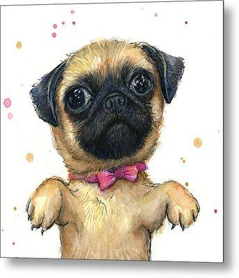Cute Pug Puppy Metal Print by Olga Shvartsur