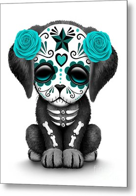 Cute Teal Blue Day Of The Dead Sugar Skull Dog  Metal Print by Jeff Bartels