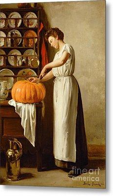 Cutting The Pumpkin Metal Print by Franck-Antoine Bail