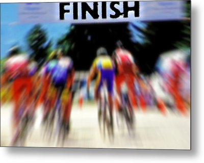 Cyclists Crossing The Finish Line Metal Print by Steve Ohlsen