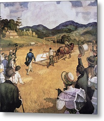 Cyrus H Mccormick And His Reaping Machine Metal Print by Newell Convers Wyeth