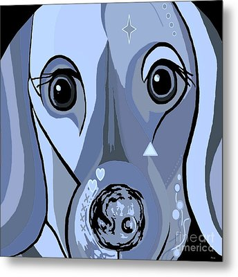Dachshund In Blue Metal Print by Eloise Schneider