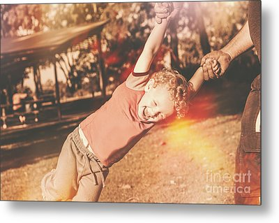 Dad Spinning Laughing Boy Propeller Style Metal Print by Jorgo Photography - Wall Art Gallery
